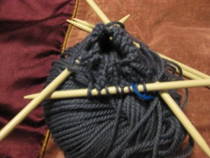 One Cable Mitts - cast on