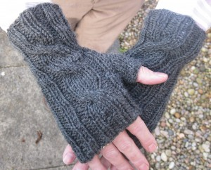 Charcoal One Cable Mitts